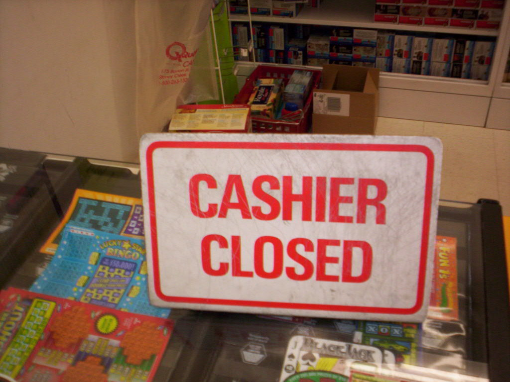 Cashier Closed Sign