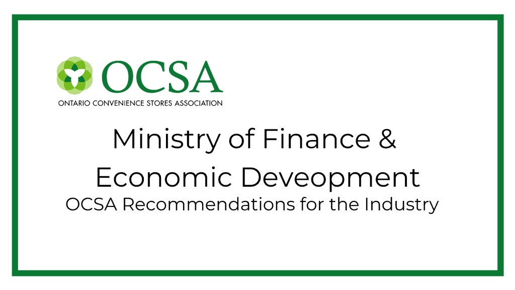 OCSA recommendations to the Ontario Ministry of Finance